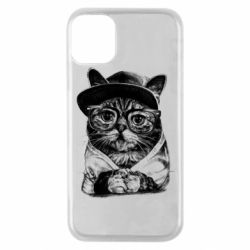 Чохол для iPhone 11 Pro Cat in glasses and a cap