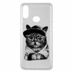 Чохол для Samsung A10s Cat in glasses and a cap