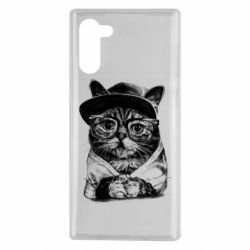 Чохол для Samsung Note 10 Cat in glasses and a cap