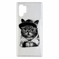 Чохол для Samsung Note 10 Plus Cat in glasses and a cap