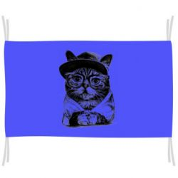 Прапор Cat in glasses and a cap