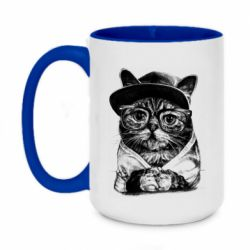 Кружка двоколірна 420ml Cat in glasses and a cap