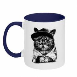 Кружка двоколірна 320ml Cat in glasses and a cap