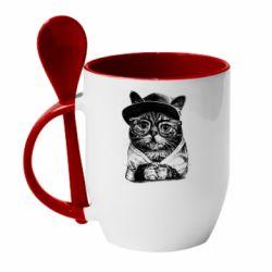 Кружка з керамічною ложкою Cat in glasses and a cap