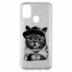 Чохол для Samsung M30s Cat in glasses and a cap
