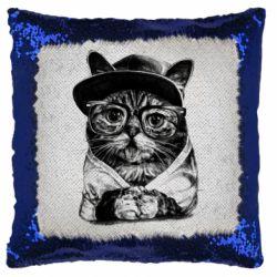 Подушка-хамелеон Cat in glasses and a cap
