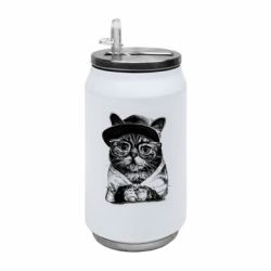 Термобанка 350ml Cat in glasses and a cap