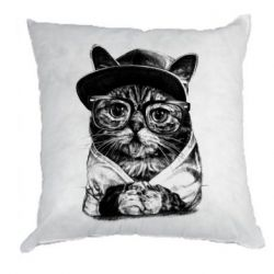 Подушка Cat in glasses and a cap