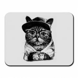 Килимок для миші Cat in glasses and a cap