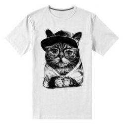 Чоловіча стрейчева футболка Cat in glasses and a cap
