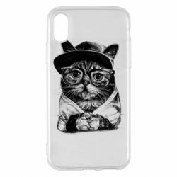 Чохол для iPhone X/Xs Cat in glasses and a cap