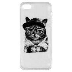 Чохол для iphone 5/5S/SE Cat in glasses and a cap