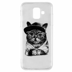 Чохол для Samsung A6 2018 Cat in glasses and a cap