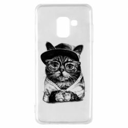 Чохол для Samsung A8 2018 Cat in glasses and a cap