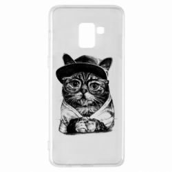 Чохол для Samsung A8+ 2018 Cat in glasses and a cap