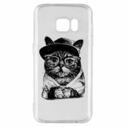 Чохол для Samsung S7 Cat in glasses and a cap