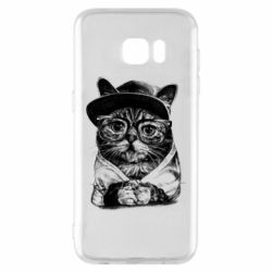 Чохол для Samsung S7 EDGE Cat in glasses and a cap