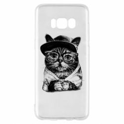 Чохол для Samsung S8 Cat in glasses and a cap