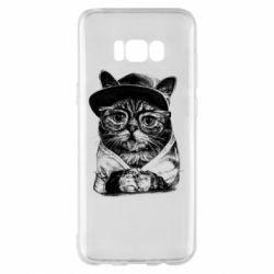 Чохол для Samsung S8+ Cat in glasses and a cap