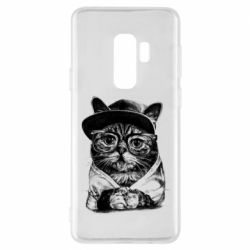 Чохол для Samsung S9+ Cat in glasses and a cap
