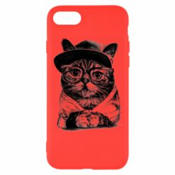 Чохол для iPhone 8 Cat in glasses and a cap