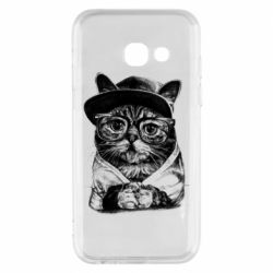 Чохол для Samsung A3 2017 Cat in glasses and a cap