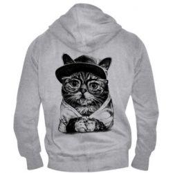 Чоловіча толстовка на блискавці Cat in glasses and a cap