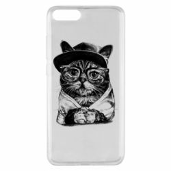 Чохол для Xiaomi Mi Note 3 Cat in glasses and a cap