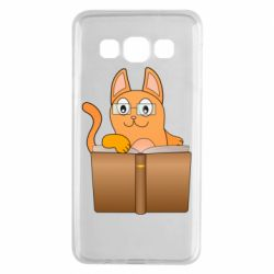 Чехол для Samsung A3 2015 Cat in glasses with a book