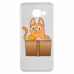Чехол для Samsung A3 2016 Cat in glasses with a book