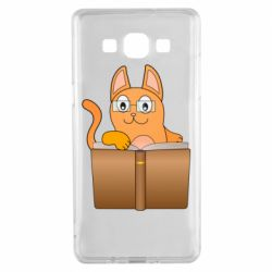 Чехол для Samsung A5 2015 Cat in glasses with a book