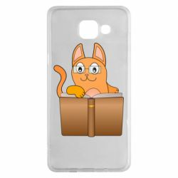 Чехол для Samsung A5 2016 Cat in glasses with a book