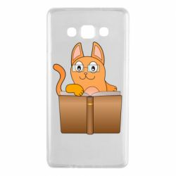 Чехол для Samsung A7 2015 Cat in glasses with a book