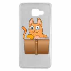 Чехол для Samsung A7 2016 Cat in glasses with a book