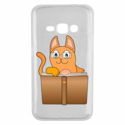 Чехол для Samsung J1 2016 Cat in glasses with a book