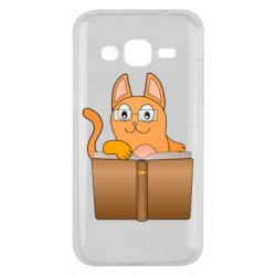 Чехол для Samsung J2 2015 Cat in glasses with a book