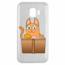 Чехол для Samsung J2 2018 Cat in glasses with a book
