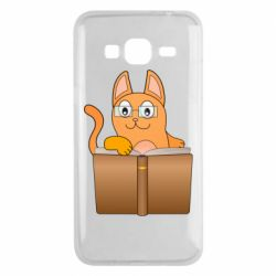 Чехол для Samsung J3 2016 Cat in glasses with a book