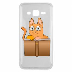 Чехол для Samsung J5 2015 Cat in glasses with a book