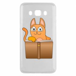 Чехол для Samsung J5 2016 Cat in glasses with a book