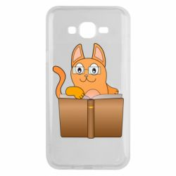 Чехол для Samsung J7 2015 Cat in glasses with a book