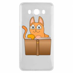 Чехол для Samsung J7 2016 Cat in glasses with a book
