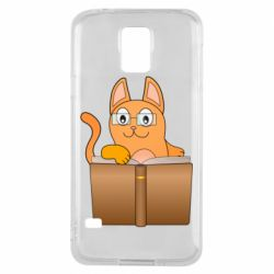 Чехол для Samsung S5 Cat in glasses with a book