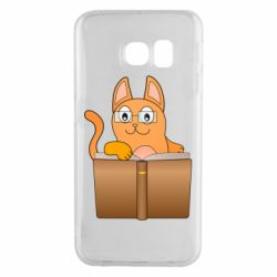 Чехол для Samsung S6 EDGE Cat in glasses with a book