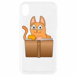 Чехол для iPhone XR Cat in glasses with a book