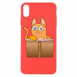 Чехол для iPhone Xs Max Cat in glasses with a book