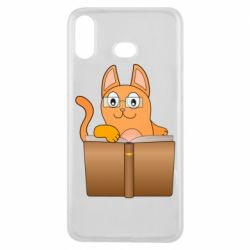 Чехол для Samsung A6s Cat in glasses with a book