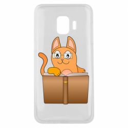 Чехол для Samsung J2 Core Cat in glasses with a book