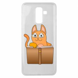 Чехол для Samsung J8 2018 Cat in glasses with a book