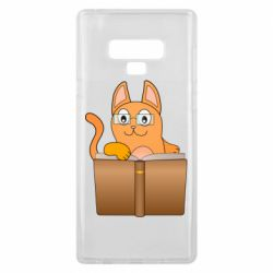 Чехол для Samsung Note 9 Cat in glasses with a book